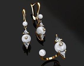 3D print model Ring and Earrings platinum