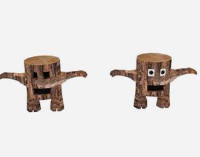 Cartoon Log Character 3D model