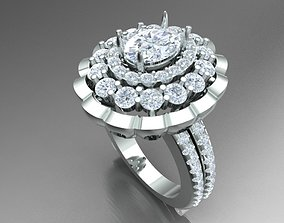 3D print model LUXURY DIAMOND RING WITH OVAL CENTER STONE