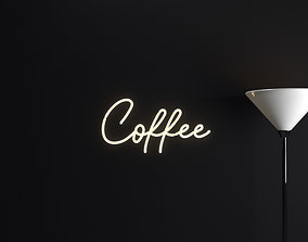 illuminated 3D model Neon Coffee Sign