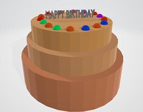 Polygon Happy-birthday cake 3D model