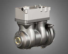 Air Brake Compressor - Two Piston - D13 Diesel Engine 3D