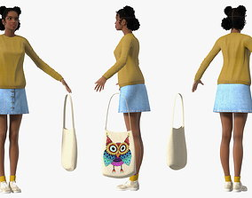 Street Style Light Skin Black Teenage Girl T Pose 3D