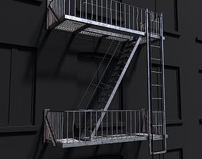 3D asset Modular Fire Escape Ladder