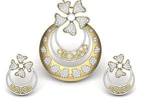 Women pearl pendant-earrings set 3dm render 1