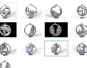 3D Zodiac signs in circle