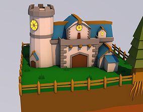 tree 3D model low-poly Castle