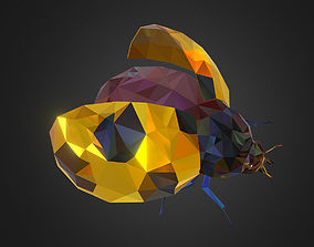 3D asset Bug Ladybug Yellow Low Polygon Art Insect