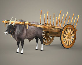 Realistic Ox and Cart 3D