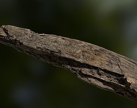game-ready Old rotten wood low poly 3D model