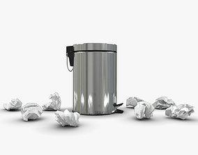 Pedal Trash bin and crumpled paper 3D model