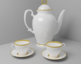 3D model Antique tea set for two with elegan teapot