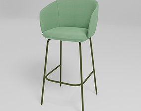 GRACE - Upholstered fabric high stool with 3D model 1