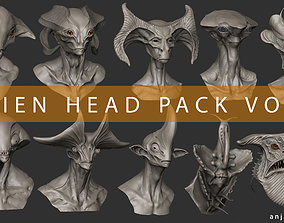 Alien Head Pack Vol 01 3D