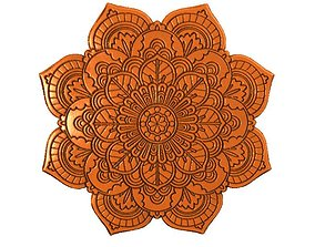 Flower mandala bas-relief 3D printable model
