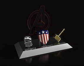 3D print model Avengers weapons showpiece with WW2 shield
