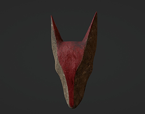 Carved Wooden Hound Mask 3D model