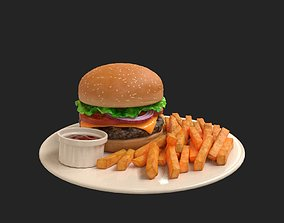 Burger and French Fries 3D