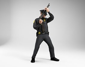polieman gun in hand ready to shoot 3D asset 4