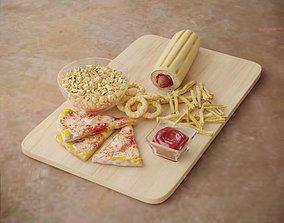 Fastfood Dish Plate Hotdog Pizza 3D
