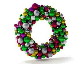 Multicolored Christmas Bulb Wreath 3D model