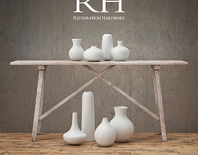 RH Alasace Studio Console Table with Vase Collection 3D