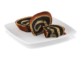 Poppy-seed cake pieces 3D model