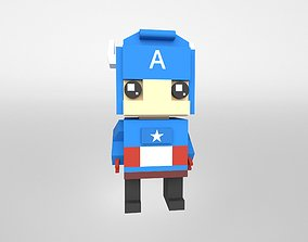3D asset Brick HeadZ 0010 Captain America