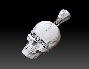 Skull SEE NO EVIL pendant Relief cnc MODEL