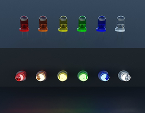 led LED Light Emitting Diodes 6 colors set 3D model