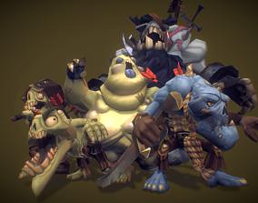 3D asset Zombie Crew Bundle - Low Poly Hand Painted