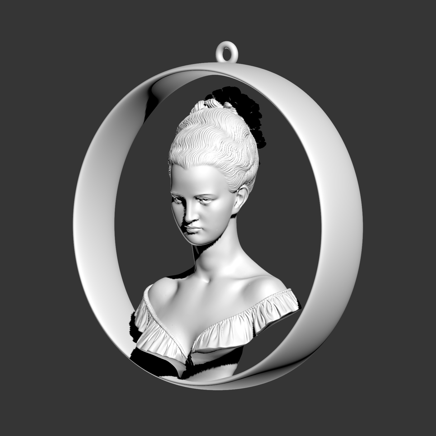 Bust Sculpture Pendant Jewelry Gold 3D print model