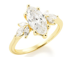 Marquise Engagement ring r0008 3D print model