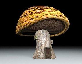 Lowpoly mushroom house 3D asset