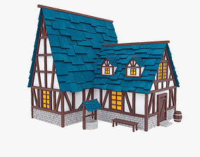 Stylized medieval house 3D model