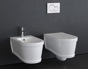 3D asset Ceramica Cielo Opera wall-hung bidet and toilet