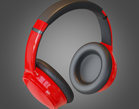 3D model Headphone Red Lowpoly Pbr Subdivision Ready