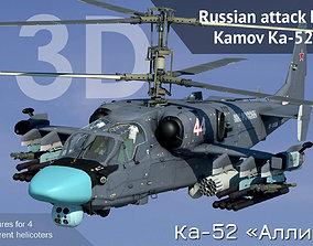 animated Russian attack helicopter Kamov Ka-52 Hokum B 1
