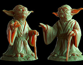 saber Yoda Lowpoly Sculpture fan 3d print model