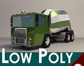 3D model Low-Poly Cartoon Concrete Mixer Truck