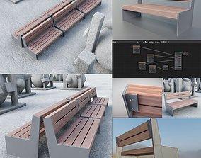 Park Bench 8 Teak Gray Metal Frame 2 3D asset