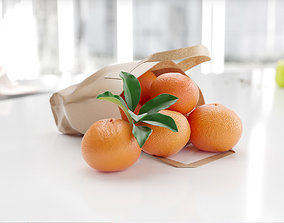 Bags of oranges realistic 3D