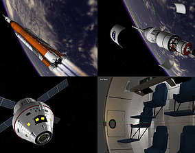 NASA Orion SLS Space Launch System with capsule 3D asset 2