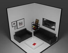 3D asset barber shop guest room