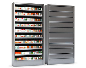 Display Case for Cigarettes with Metal Blinds 3D