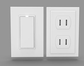 Wall Switch and Plug Socket 3D model