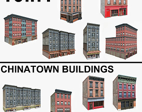 3D asset 10 Chinatown Buildings Collection