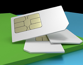 3D model SIM card mobile