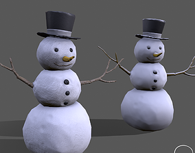 low poly snowman with hat 3D asset