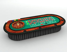 Casino Roulette Table With Ball and Casino Chips 3D model